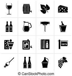 industrie, objets, noir, vin, icônes
