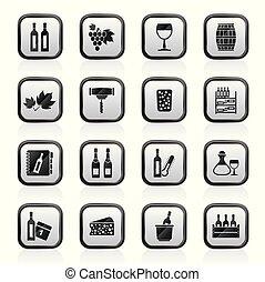 industrie, objets, vin, icônes