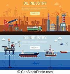 industrie, olie, banieren