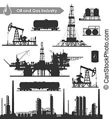 industrie, olie, set