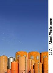 industrie, orange, fibre verre, liquide, récipient, cylindre
