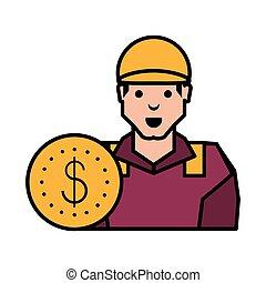 industrie, ouvrier huile, monnaie