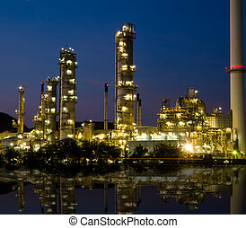 industrie, pétrochimique, sunset.