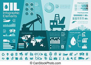 industrie pétrolière, infographic, gabarit
