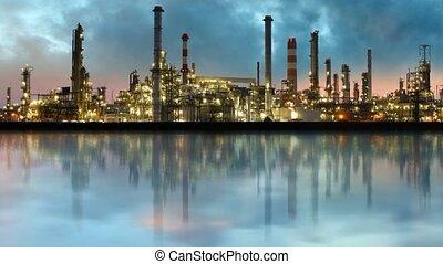 industrie pétrolière, -, raffinerie, défaillance temps