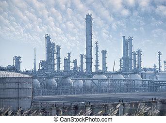 industrie pétrolière, traitement, essence, factory., paysage