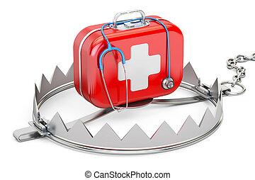 industrie pharmaceutique, kit, rendre, piège, médecine, aide, dépendance, premier, concept., 3d