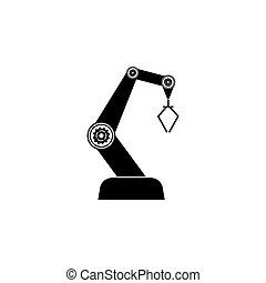 industrie, robot, illustration, vecteur, arrière-plan noir, icon., blanc