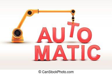 industrie, roboter arm, gebäude, automatisch, wort