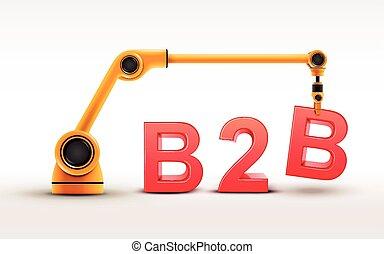 industrie, roboter arm, gebäude, b2b, wort
