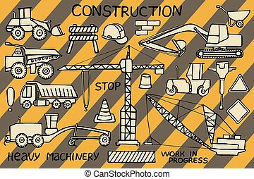 industrie, sketch., griffonnage, lourd, machinerie construction, hand-drawn, set., icône, drawing., dessin animé