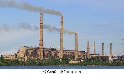industrie, stapel, von, steinkohle, energieversorger, einspritzen, rauchwolken