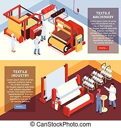 industrie textile, bannières, isométrique