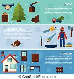 industrie, travail bois, bannières