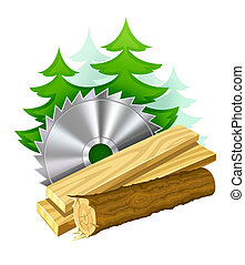 industrie, travail bois, icône