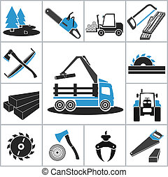 industrie, travail bois, icônes