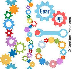 industrie, umrandungen, satz, zahnräder, kreis, linie, farben