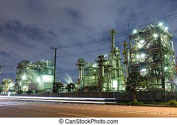 industrie, usine, nuit