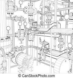 industrie, vektor, equipment., wire-frame