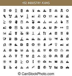 industrie, verzameling, iconen