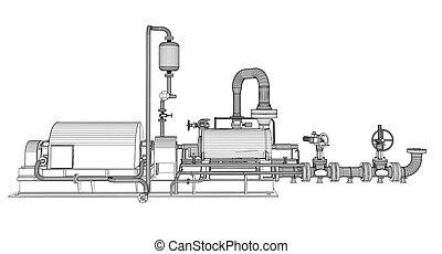 industrie, wire-frame, pumpe