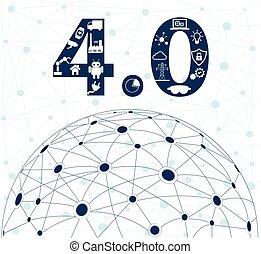 industriebedrijven, 4.0, industrie, concept, internet, of