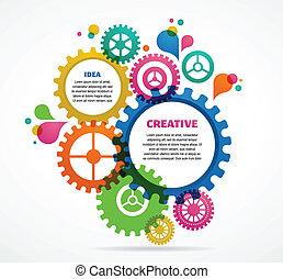 industriebedrijven, abstract, kleurrijke, achtergrond,...