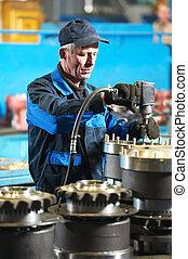 industriebedrijven, assembler, arbeider, op, fabriek