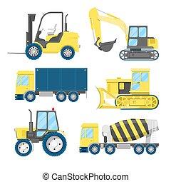 industriebedrijven, bouwsector, vervoer, met, vrachtwagen, en, tractor., vector, illustratie