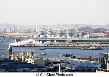 industriebedrijven, complex, in, incheon,