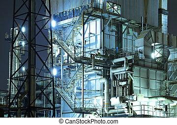 industriebedrijven, complex, op de avond