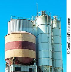 industriebedrijven, concrete-mixing, plant.