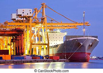 industriebedrijven, container, vrachtschip