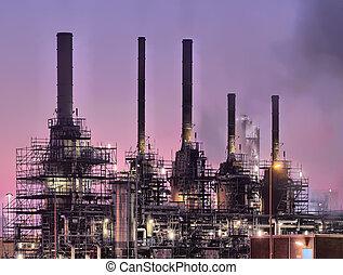 industriebedrijven, de scène van de nacht
