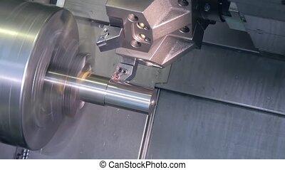 industriebedrijven, details, metaal, draaien