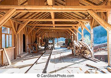 industriebedrijven, -, fabriek, algemeen, slijpsel hout, details