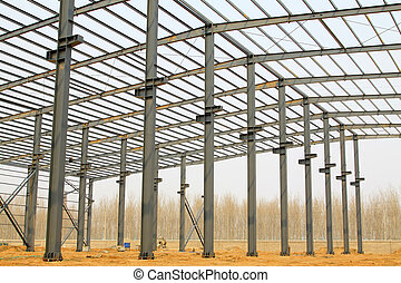 industriebedrijven, fabriekshal, workshop, dak, staal, balk