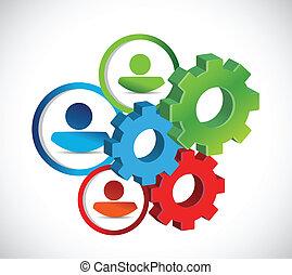 industriebedrijven, gears., concept, avatars, illustratie