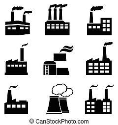 industriebedrijven, gebouwen, fabrieken, en, mogendheid poot