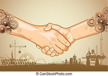 industriebedrijven, handdruk