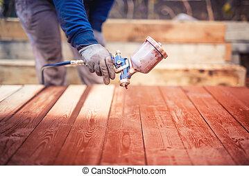 industriebedrijven, handyman, arbeider, geweer, bouwterrein, verpulveren, bouwsector, schilderij
