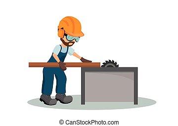 industriebedrijven, houten, equipment., timmerman, illustratie, holle weg, vector, veiligheid, mannelijke , os, plank