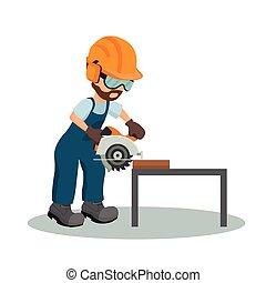industriebedrijven, houten, equipment., timmerman, illustratie, holle weg, vector, veiligheid, circulaire, mannelijke , zaag, plank, design.