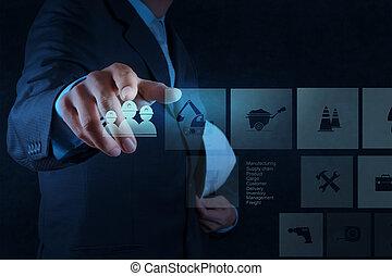 industriebedrijven, ingenieur, hand, werkende , met, de,...