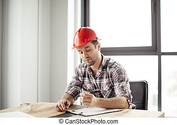 industriebedrijven, ingenieur, schrijvende , iets, op, notepad
