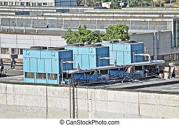 industriebedrijven, lucht conditionerend, en, luchtverversing systemen, op, een, dak