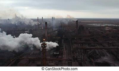 industriebedrijven, macht, luchtopnames, plant, scène