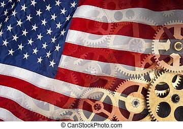 industriebedrijven, macht, -, staten, vlag, verenigd