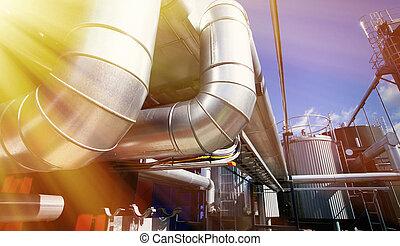 industriebedrijven, pijpleidingen, op, pipe-bridge, tegen, blauwe hemel