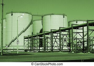 industriebedrijven, pijpleidingen, tegen, blauwe hemel